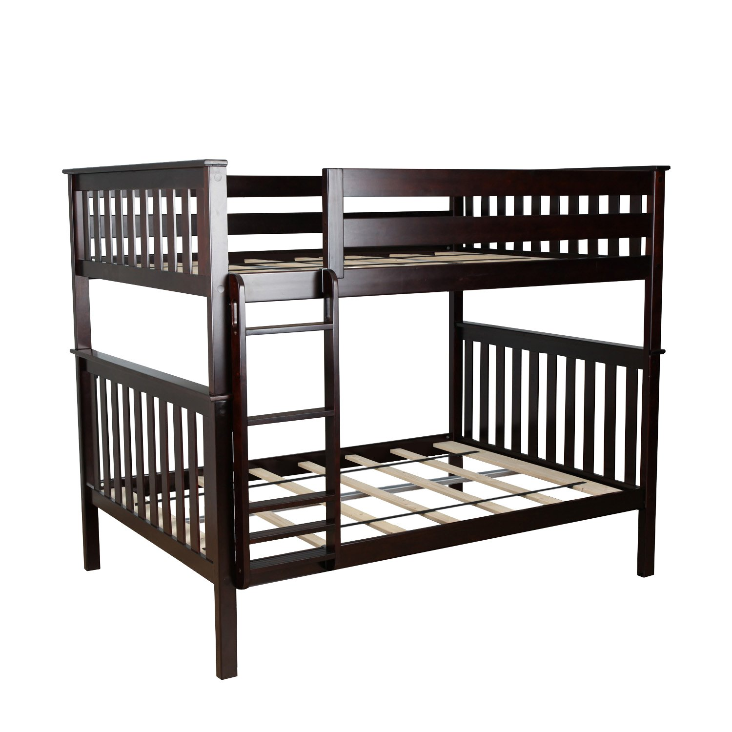 Max & Lily Solid Wood Full over Full Bunk Bed, Espresso