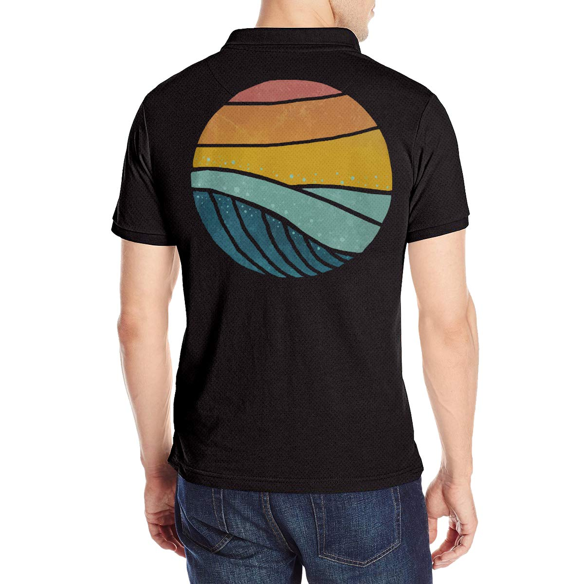 Vintage Sea Wave On Sunset Mens Boys Short-Sleeved Polo Shirt Cotton Raglan Baseball Tops