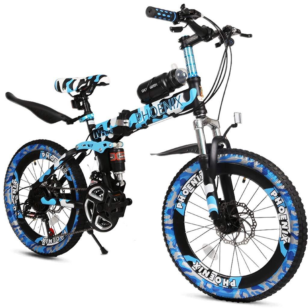 子供用 自転車 7~14歳 20インチ 折りたたみ式 マウンテンバイク ダブルディスクブレーキ ダンピング 可変スピードバイク abc123456 B07JFXKY79  迷彩 ブルー(Camouflage Blue)