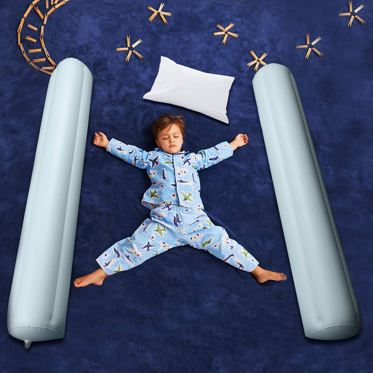 Toddler Bed Rail Bumpers, Carttiya Inflatable Kid's Bed Safety Rails, Water-Proof & Portable for Travel, Double Rails