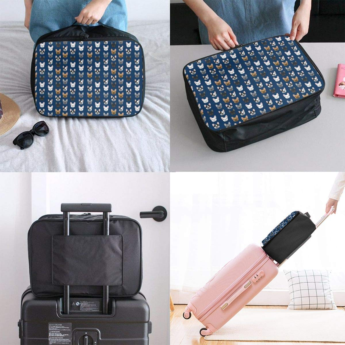 French Bulldog Navy Blue JTRVW Luggage Bags for Travel Travel Lightweight Waterproof Foldable Storage Carry Luggage Duffle Tote Bag