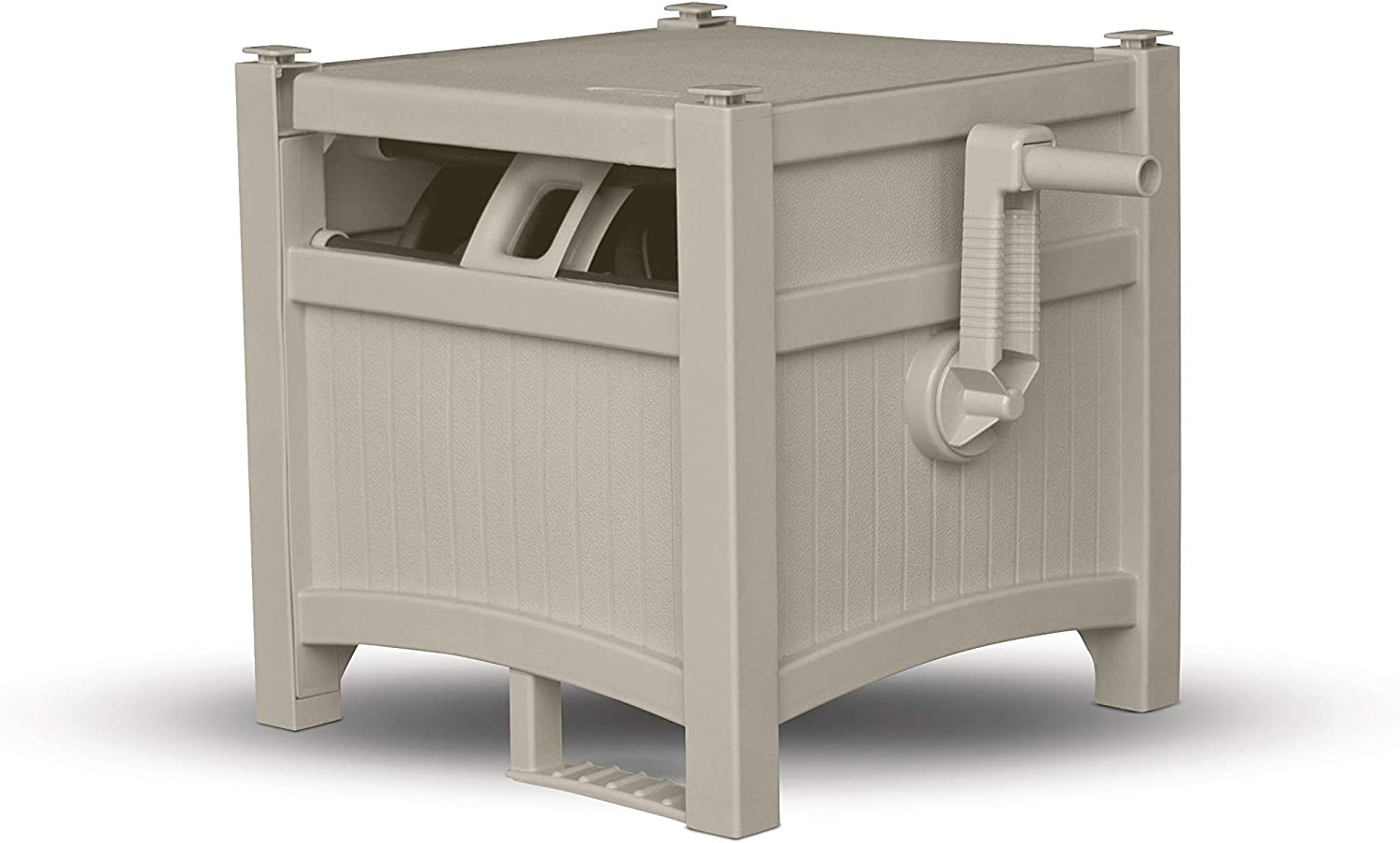 Durable Garden Hose Storage Reel with Crank Handle Suncast Resin Outdoor Hose Hideaway with Lid 100 Hose Capacity Taupe