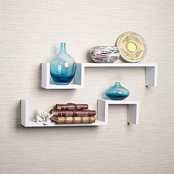Danya B  White Laminate  quot S quot. Amazon com  Danya B  White Laminate  S  Wall Mount Shelves  Set of