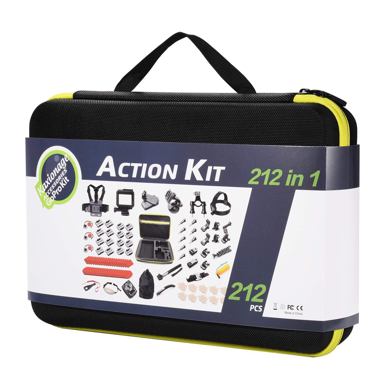 Accessory Kit(212 in 1) for Gopro Hero 7 6 5 4 3+ 3 2 1 Hero Session 5 Black Akaso Ek7000 Apeman Sj4000 5000 6000 Dbpower AKASO VictSing Wimius Rollei Qumox Lightdow Campark Sony Sport DV with Case