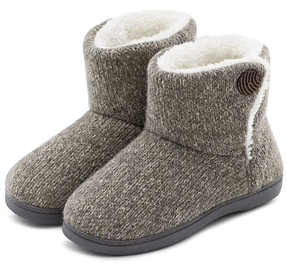 ULTRAIDEAS Women's Soft Yarn Cable Knit Bootie Slippers Memory Foam Indoor & Outdoor Shoes w/Adjustable Suede Lace (Large / 9-10 B(M) US, Gray) best women's slippers