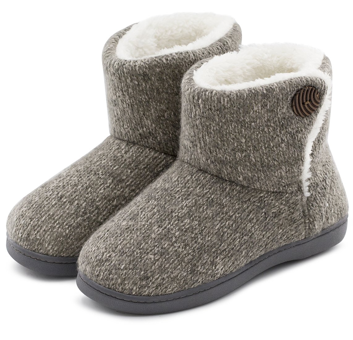 ULTRAIDEAS Women's Comfort Woolen Yarn Woven Bootie Slippers Memory Foam Plush Lining Slip-on House Shoes w/Anti-Slip Sole Indoor, Outdoor (Large/9-10 B(M) US, Gray)