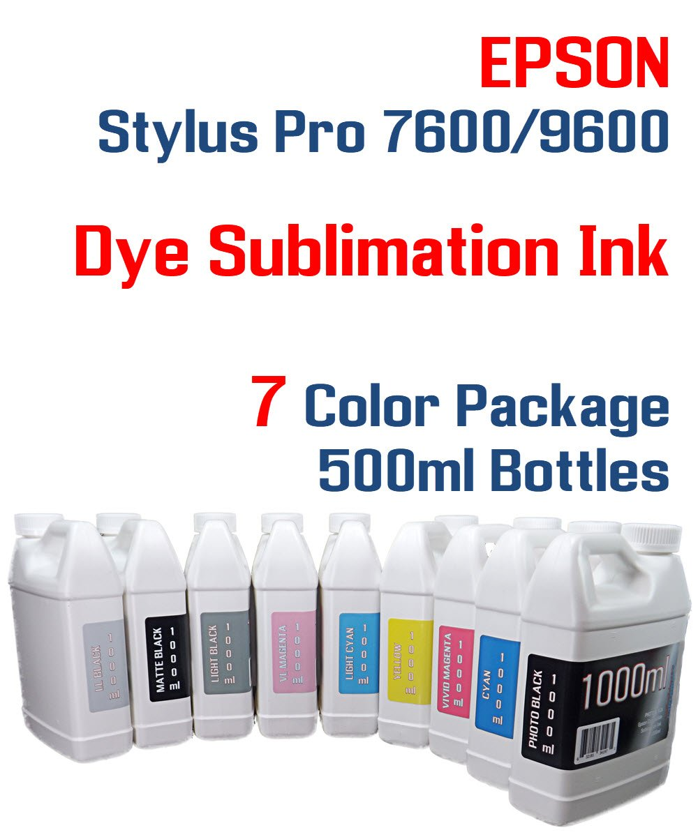 Amazon com: Dye Sublimation ink 7 color 500ml bottles