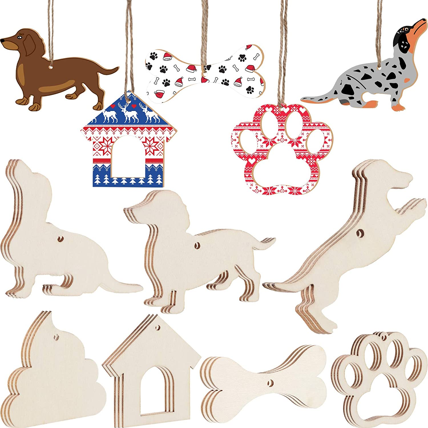 21 Pieces Wooden Christmas Ornament Dog Unfinished Wood Cutouts for Crafts with Rope for Christmas Tree Dog Birthday Party Kids Home Decor Ornament DIY Craft Art Project 7 Styles