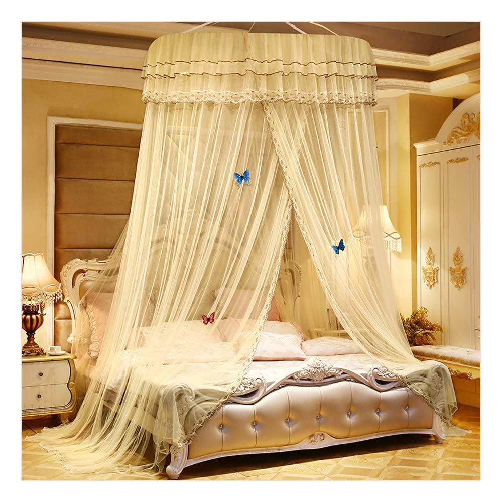 Bed Canopy, Girls Bed Net Drapes,Princess Bed Canopy Romantic Round Dome Double Ruffles Single Opening Mosquito Net for King Queen Full Twin Size Bed, with Decorative Lights,Yellow