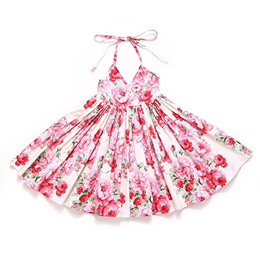 1b53aab23e Amazon.com  Flofallzique Vintage Floral Easter Girls Dress Cream Backless Toddler  Sundress for 1-8 Years Old  Clothing