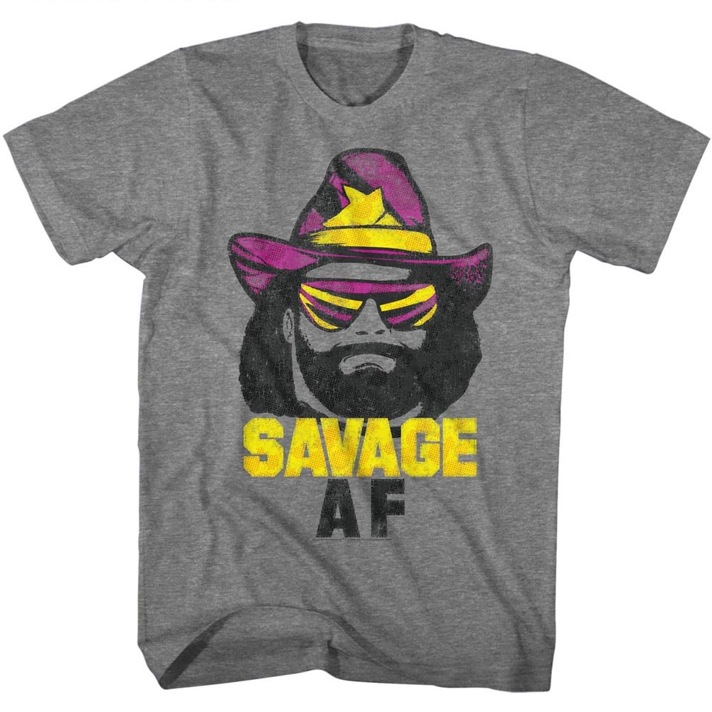 Macho Man 1980's WWF Heavyweight Wrestler Savage Adult T-Shirt Tee by American Classics