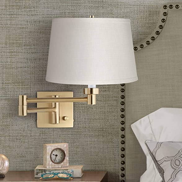 Alta Indoor Swing Arm Wall Mounted Lamp Warm Antique Brass Plug-in Light Fixture Dimmable White Linen Drum Shade Bedroom Bedside House Reading Living Room Home Hallway Dining