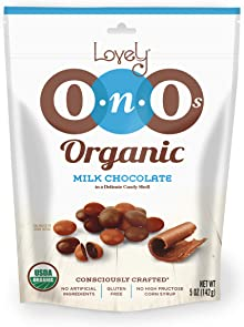 Organic Milk Chocolate Gem OnO's - Lovely Candy Co. 5oz Bag - NON-GMO, NO HFCS, Kosher & Gluten-Free | Consciously crafted in the USA!