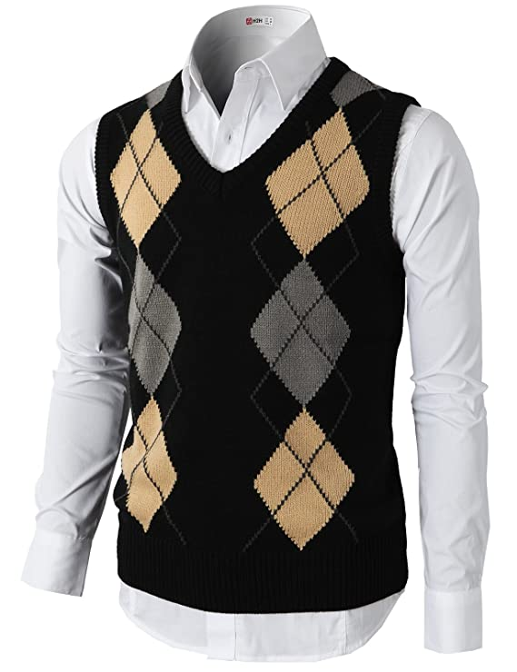1920s Style Mens Vests Argyle V-Neck Golf Sweater Vest Of Various Colors $29.70 AT vintagedancer.com