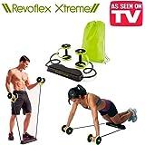Die innovative Revoflex Xtreme. Multifunktionswerkzeug mit 6verschiedenen Widerstandsstufen und 44Übungen. Formt Bauch oberen, unteren, mittleren und schräge aber auch für Brust, Rücken, Arme, Schultern, Gesäß und Oberschenkeln–Doppel Rad Von Training Bauch