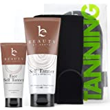 Self Tanner Bundle with Applicator - Tanning Lotion for Body & Face with Tanning Mitts, Sunless Tanner for Face & Self Tan fo