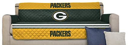 Pegasus Home Fashions NFL Green Bay Packers Sofa Couch Reversible Furniture  Protector With Elastic Straps,