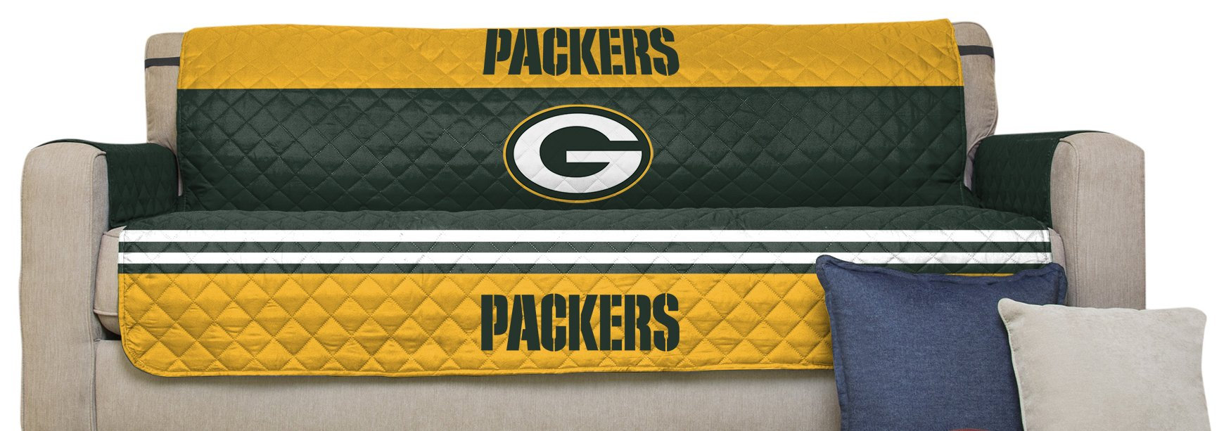 Pegasus Home Fashions NFL Furniture Protector with Elastic Straps, Sofa, Green Bay Packers