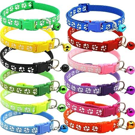 Imagen deBETOY - Collar para Mascotas con Campanas, Collar Reflectante Personalizado Ajustable, Reutilizable, Felpa Suave, Cuello de Piel de Animal doméstico de para Gatos, Cachorros(12 pcs)