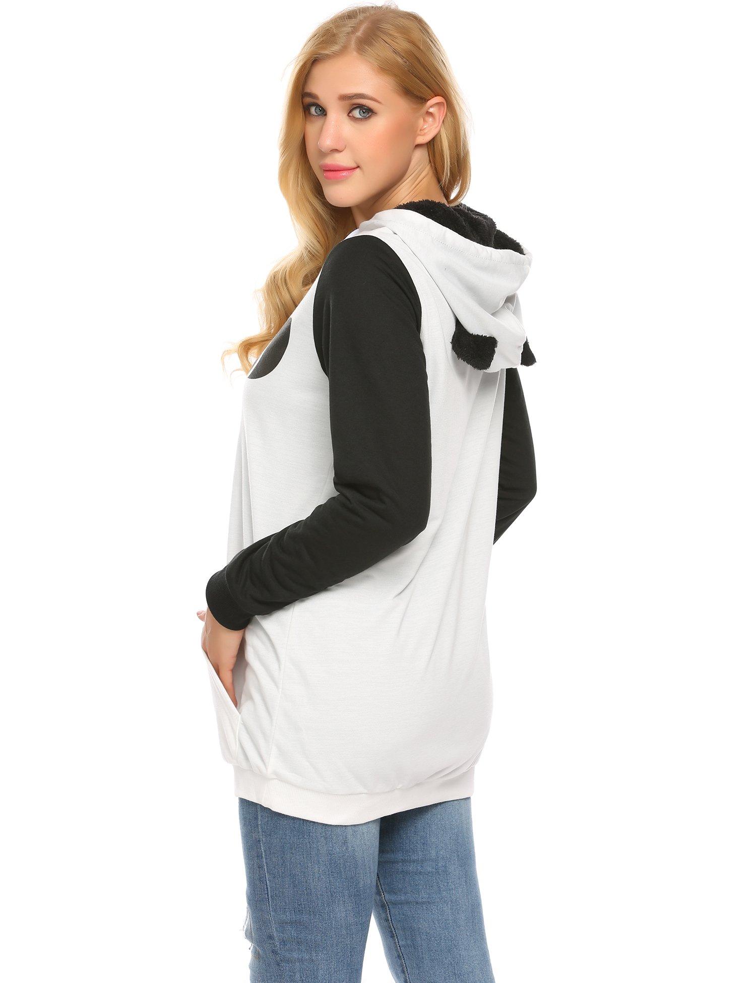 Zeagoo Women's Loose Fit Pullover Hoodie Sweatshirt with Kangaroo Pocket,White,M by Zeagoo (Image #4)