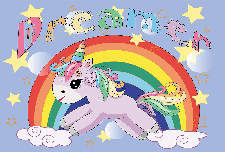 fondo de fotos para fiesta de cumplea/ños Fondo de fotos de 7x5 pies dise/ño de unicornio m/ágico arco/íris fondo de fotos para cabina de fotos MEHOFOTO fiesta flores rosas para ni/ñas