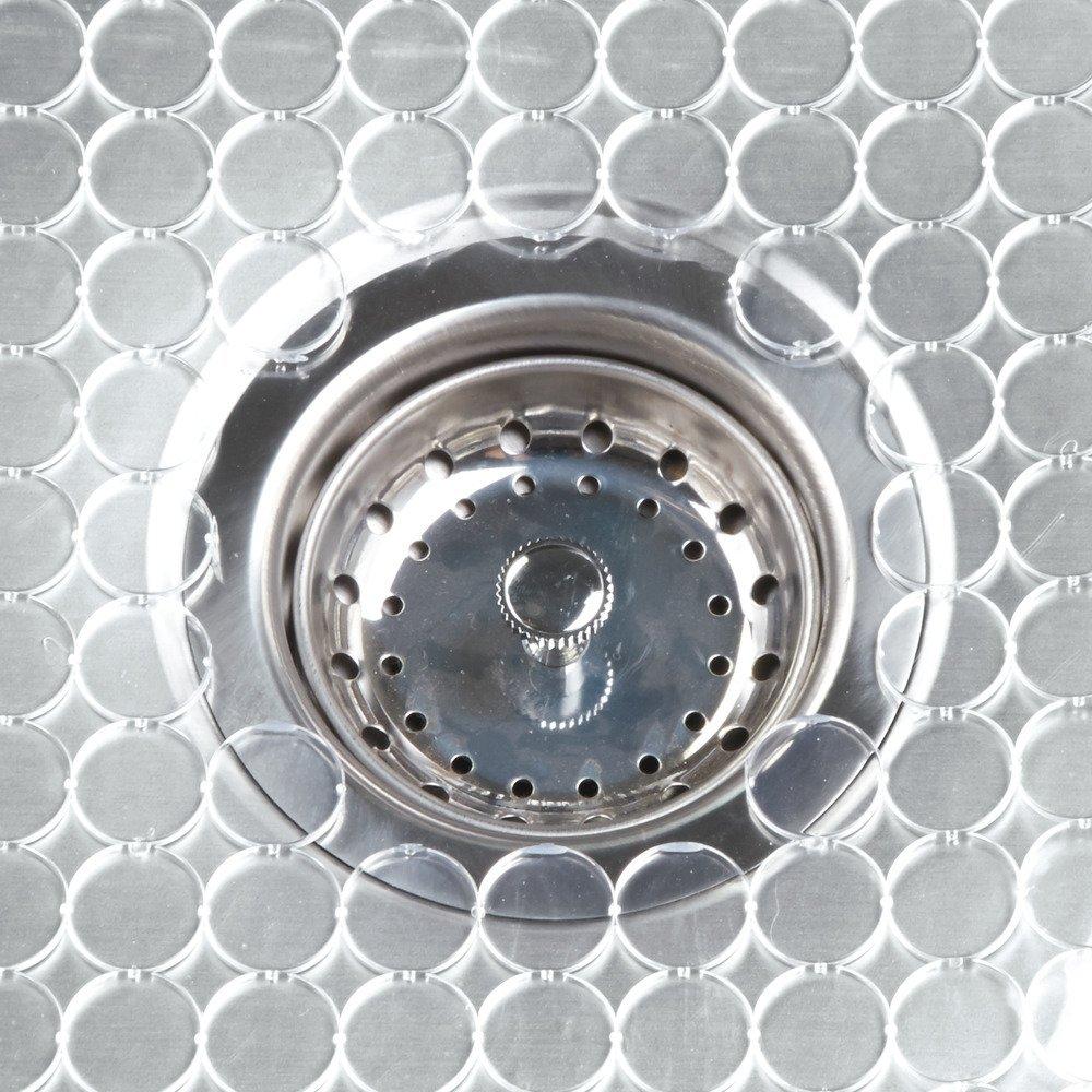 alfombrilla escurreplatos recortable en pl/ástico transparente InterDesign Orbz Salvaplatos para fregaderos de cocina