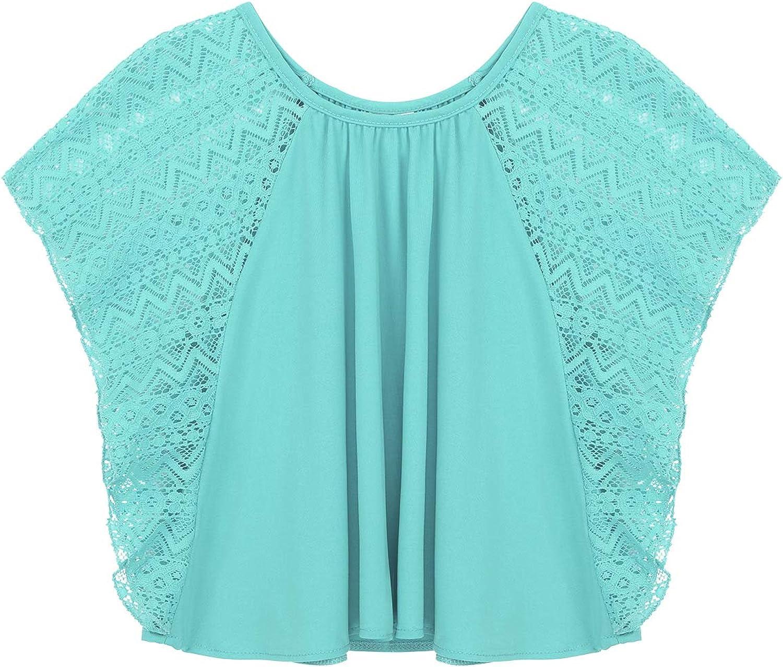 TiaoBug Big Girls Lace Batwing Raglan Sleeves Loose Pull On Circle Top Tee Shirt School Casual Clothes