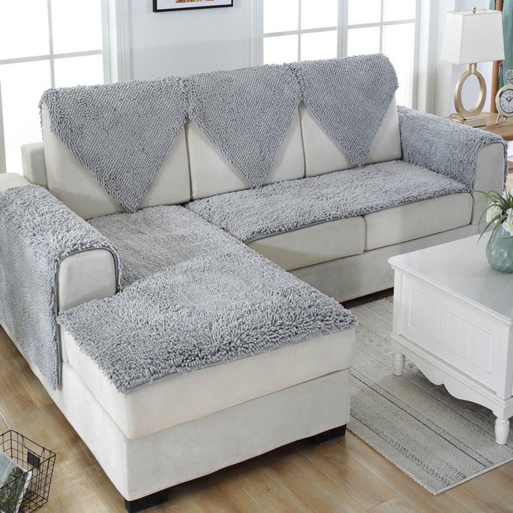 Snow neil slipcover sofa,European style Plush sofa slipcover Winter slip Leather sofa mat Fabric bay window seat cushion-Silver gray 50x180cm(20x71inch)
