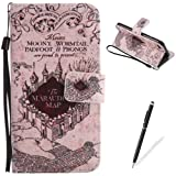 """iPhone 7 4.7"""" Case,Feeltech Elegant Premium Flip PU Leather Wallet Cover with Magnetic Closure Stand Function Protective [Free 2 in 1 Stylus] Credit Card Slots Holder and Money Pouch Vintage Retro Cartoon Pattern Design Flip Book Style Cover Case With Hand Strap for iPhone 7 4.7"""" - Castle"""