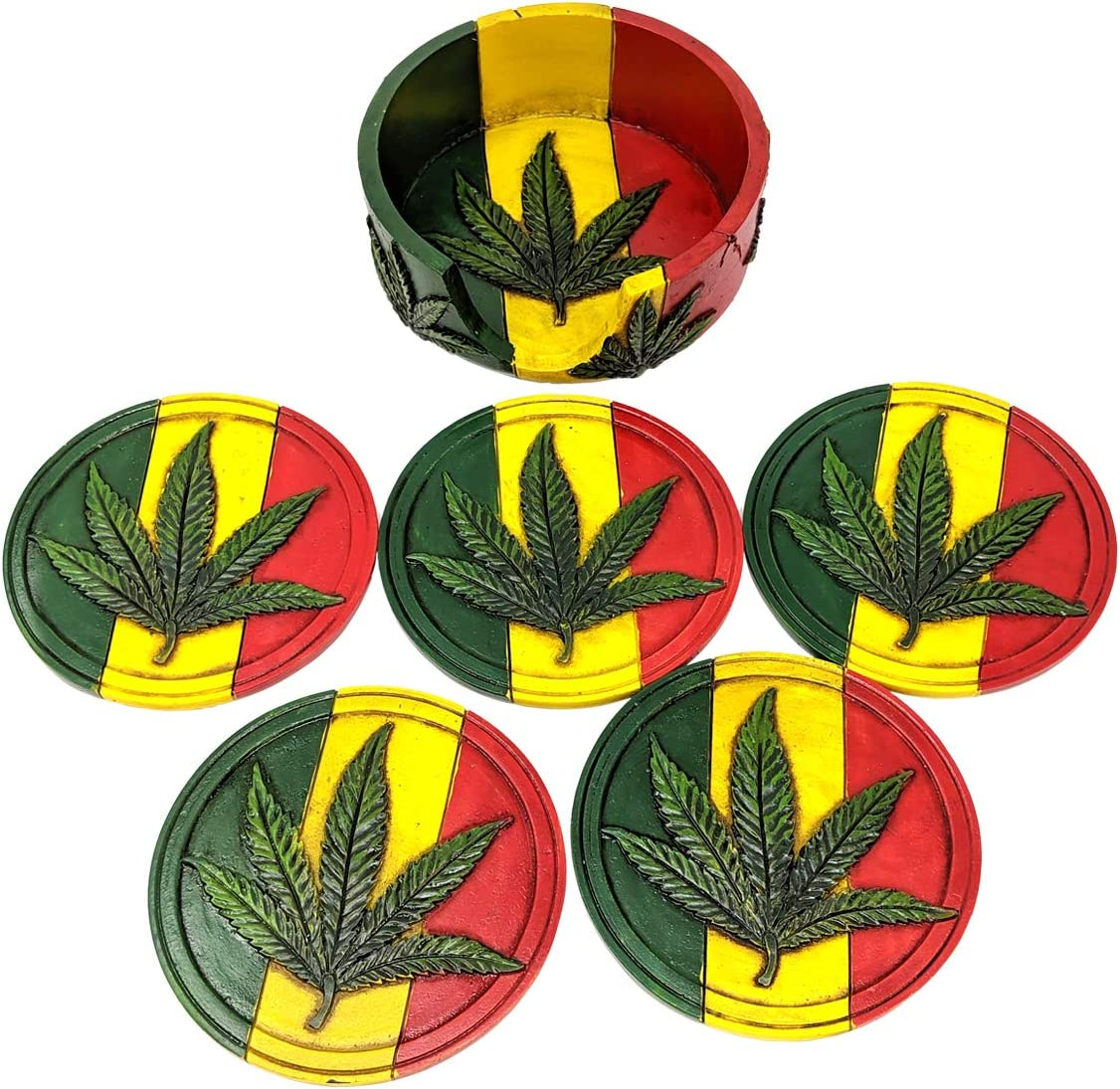 Rasta Coasters Set for Drinks - Jamaican Modern Coaster Set Cool Housewarming Gifts Wine Decorations for Home - Coasters with Holder Wine Bar Accessories and Decor - Rastafarian Art Coasters