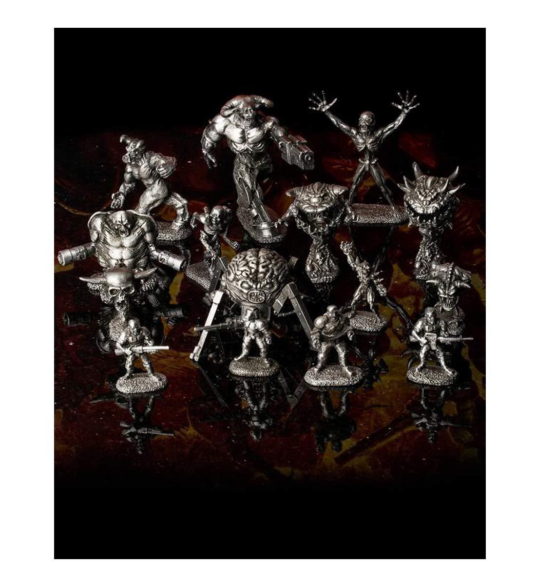 Doom Reaper Miniature Pewter Figure Set with Doom Box, Hand Polished - 15 Piece Set