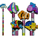 Sealife pencil with fish rubber party bag filler pack of 6