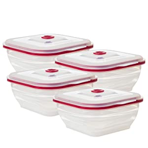 Collapse-it Silicone Food Storage Containers - BPA Free Airtight Silicone Lids, 8 Piece Variety Set of 4-Cup Collapsible Lunch Box Containers - Oven, Microwave, Freezer Safe