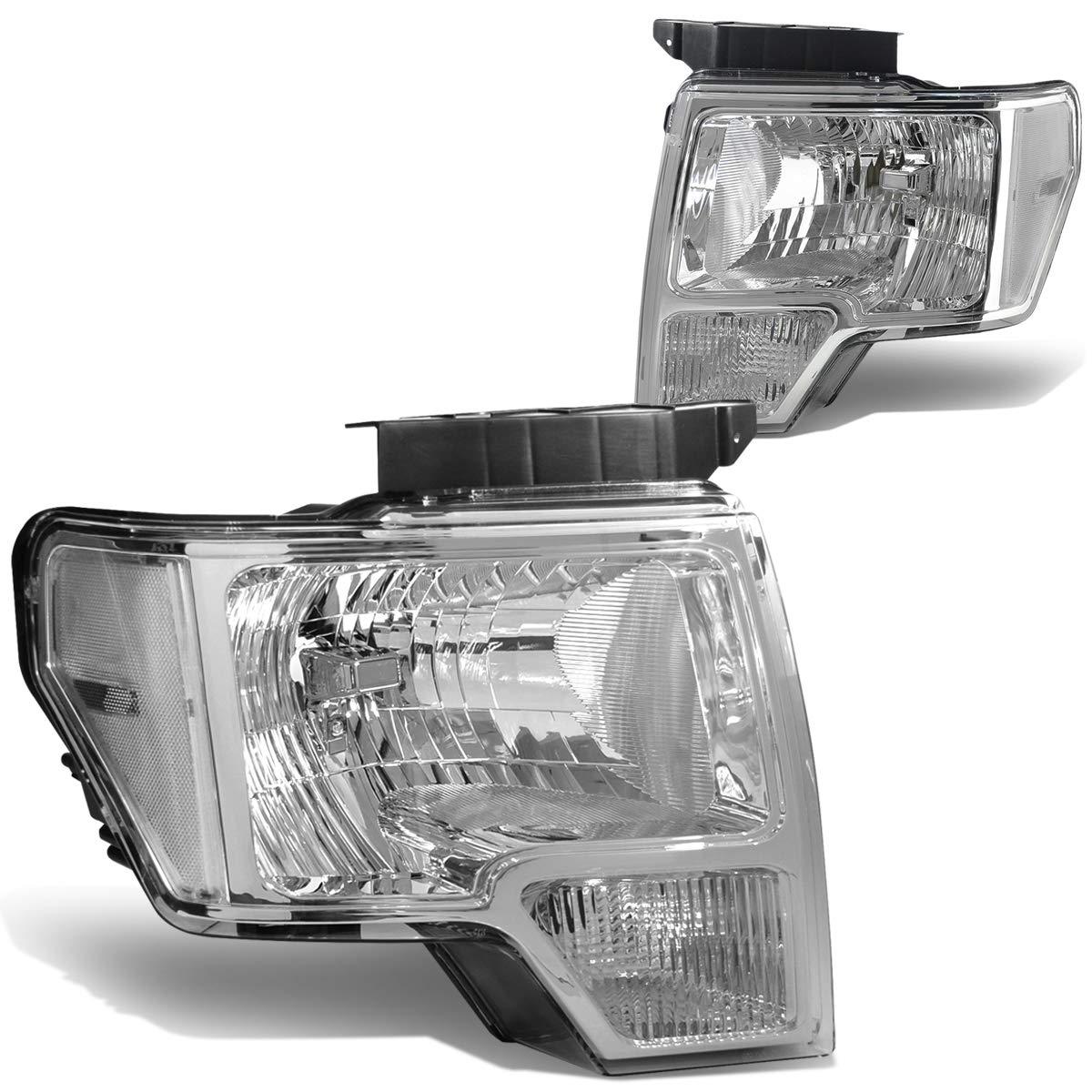 KAC Headlight Assembly for 2009-2014 F150 Truck Chrome Halogen Headlight Black Housing Amber Reflector Clear Lens Driver and Passenger Side