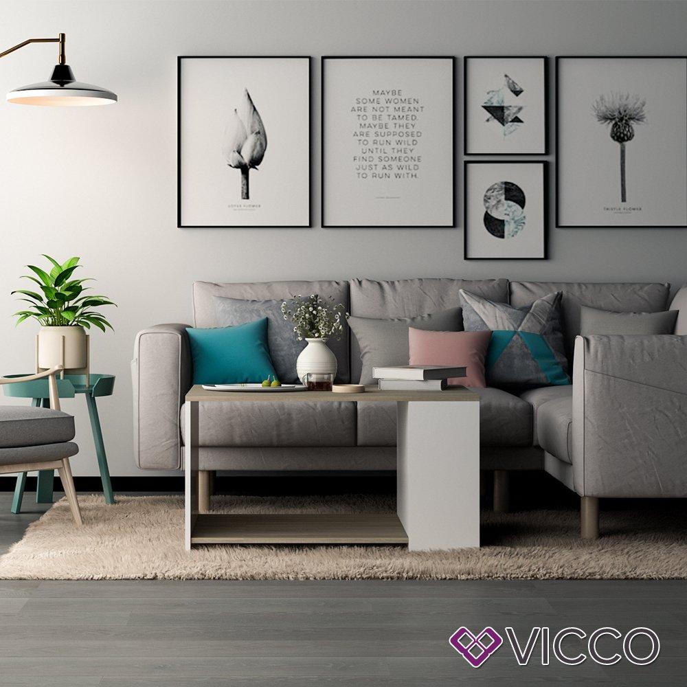 Vicco Couchtisch DARIO Anthrazit//Sandeiche mit Ablagefächern Wohnzimmer Sofatisch Kaffeetisch 3 Farbvarianten Beistelltisch 90 x 60 cm Oskar Top Design