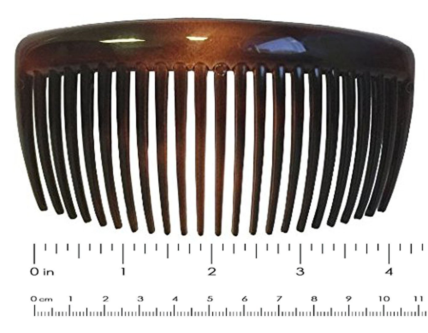 Parcelona French Large 2 Pieces Glossy Celluloid Shell Good Grip Updo 23 Teeth Hair Side Combs - 4.5 Inches by Parcelona (Image #1)