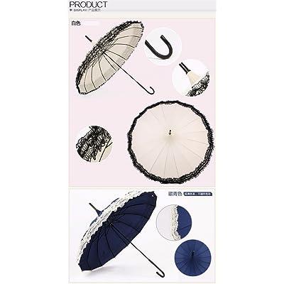 ZHUDJ Parapluie, Long Manche, Korean Lace, Petites Étudiant Parapluie, Pagoda Parapluie, Parasol, Double Objectif Rétro Princesse Parapluie,Beige