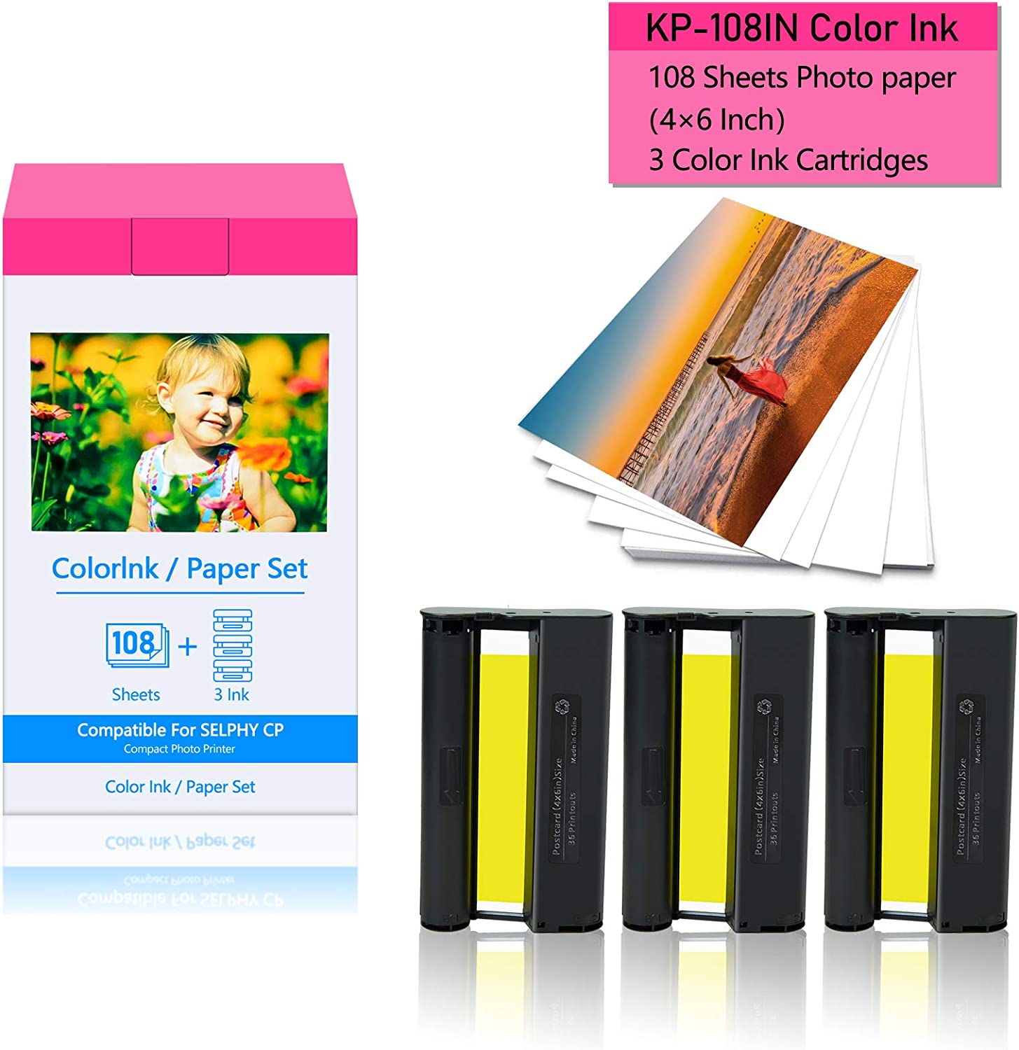 """KCMYTONER 1 Pack Compatible for Canon KP-108IN KP108 3 Color Ink Cartridge and 108 Sheets Paper Set 4""""x6"""" 100 x148mm for Selphy CP1300 CP1200 CP910 CP900 CP760 CP770 CP780 CP800 Wireless Compact Photo"""