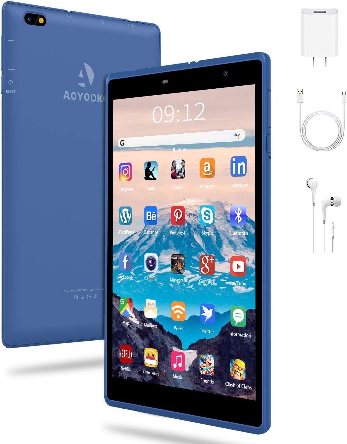 Tablet 8 Pulgadas Android 10 IPS Ultrar-Rápido Tablets HD 1280 * 800 Quad Core 3GB RAM 32GB/128GB ROM WiFi GPS 5000mAh Bluetooth 4.2-Certificación Google GMS (Azul)