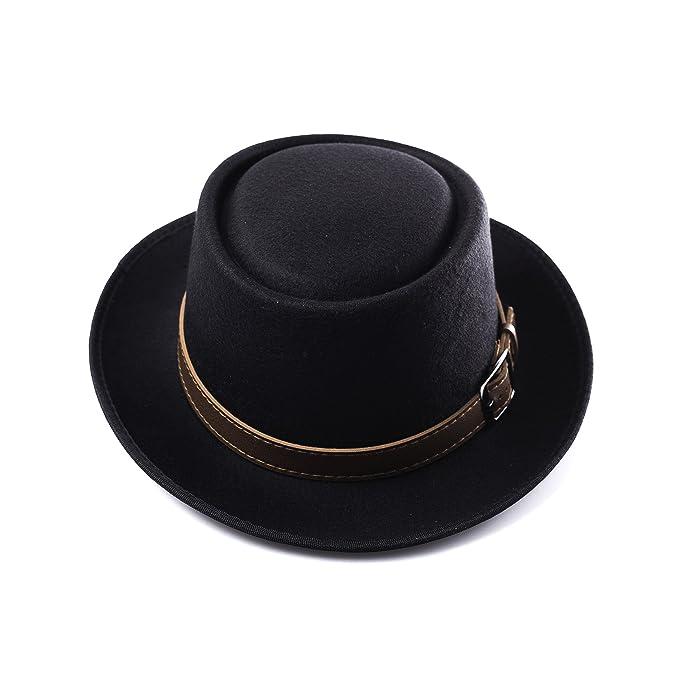 Accessoryo – nero opaco alto cappello fedora con cintura marrone e fibbia  dettagliante 6f2c511908b8