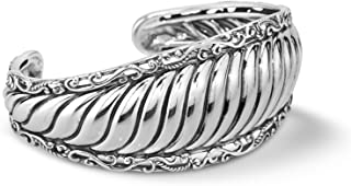 product image for Carolyn Pollack Sterling Silver Ribbed Cuff Bracelet Size S, M and L