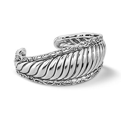 afd65258df5 Amazon.com: Carolyn Pollack Sterling Silver Ribbed Cuff Bracelet ...