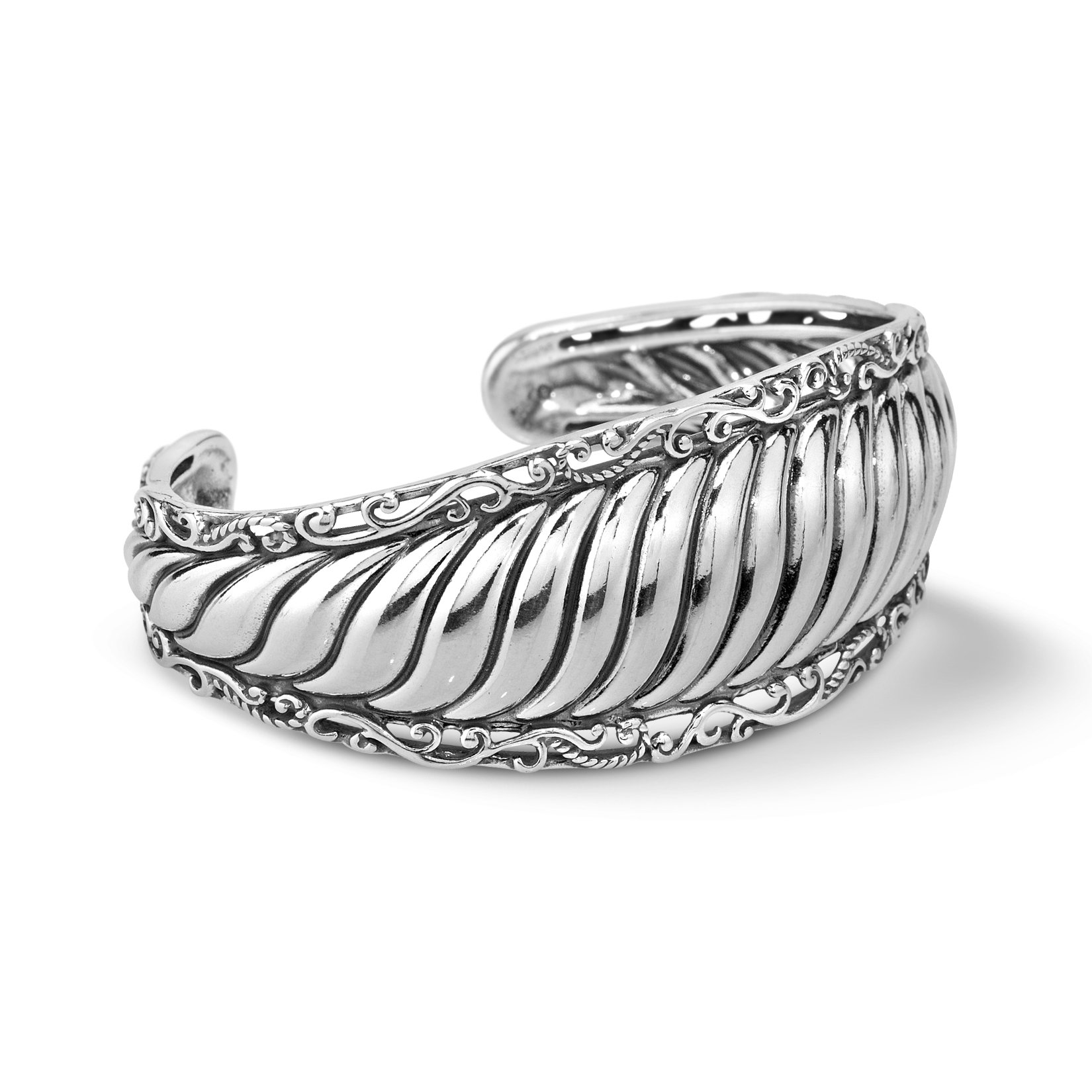 Carolyn Pollack Signature Genuine .925 Sterling Silver Ribbed Cuff Bracelet