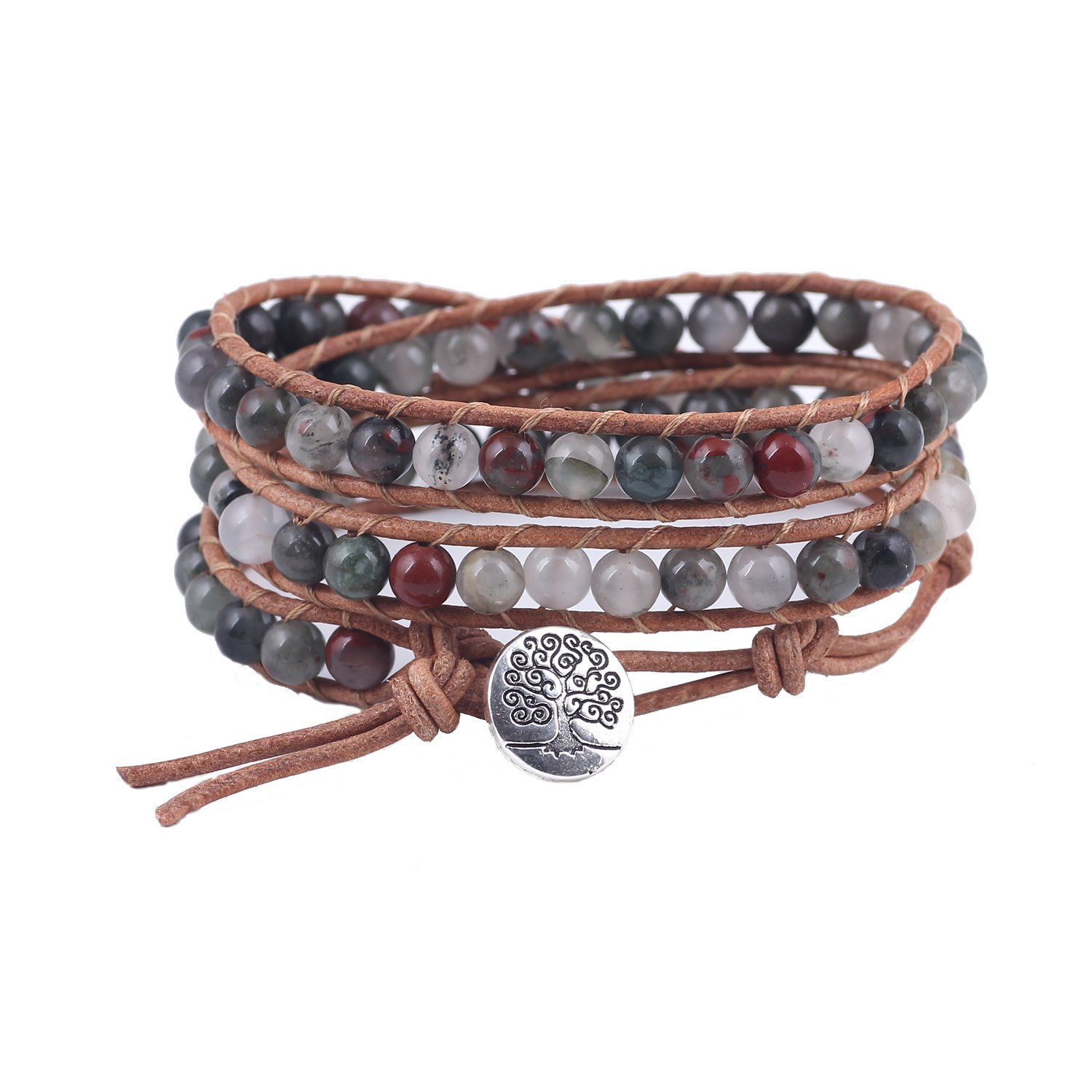 Bonnie Cotton/Twine Braided Bracelet Tree of Life Metal Button Beaded Wrap (Dragon Blood Beads)