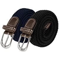 Anpro 2 Pack Ladies Elastic Fabric Braided Stretch Belts 42 Inch