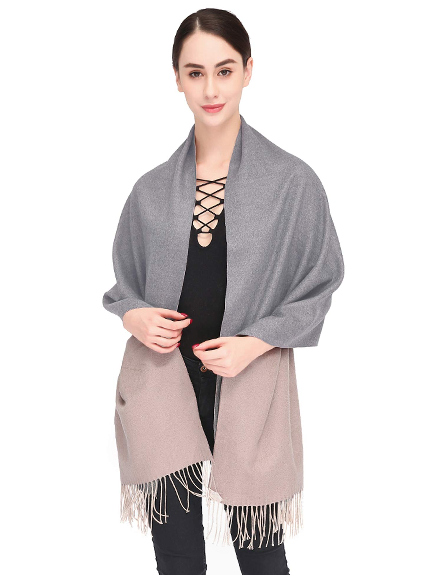 Luxuriously Soft Large Winter Scarves GIft Box Women Stylish Warm Blanket Scarf Solid Oversized Pashmina Cashmere Shawl Wrap Scarves 75''x25.5'' (Light grey/Coffee, Box) by Arctic Penguin