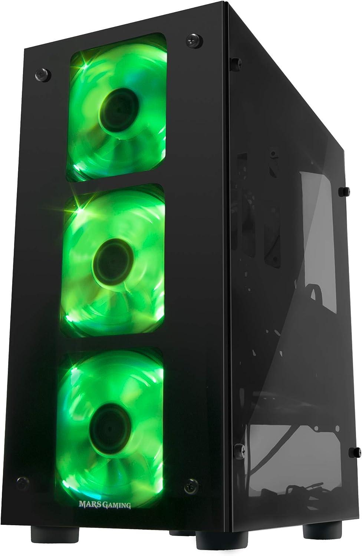 Mars Gaming MCT, caja de Pc Micro ATX, 3 Ventiladores RGB 12cm ...