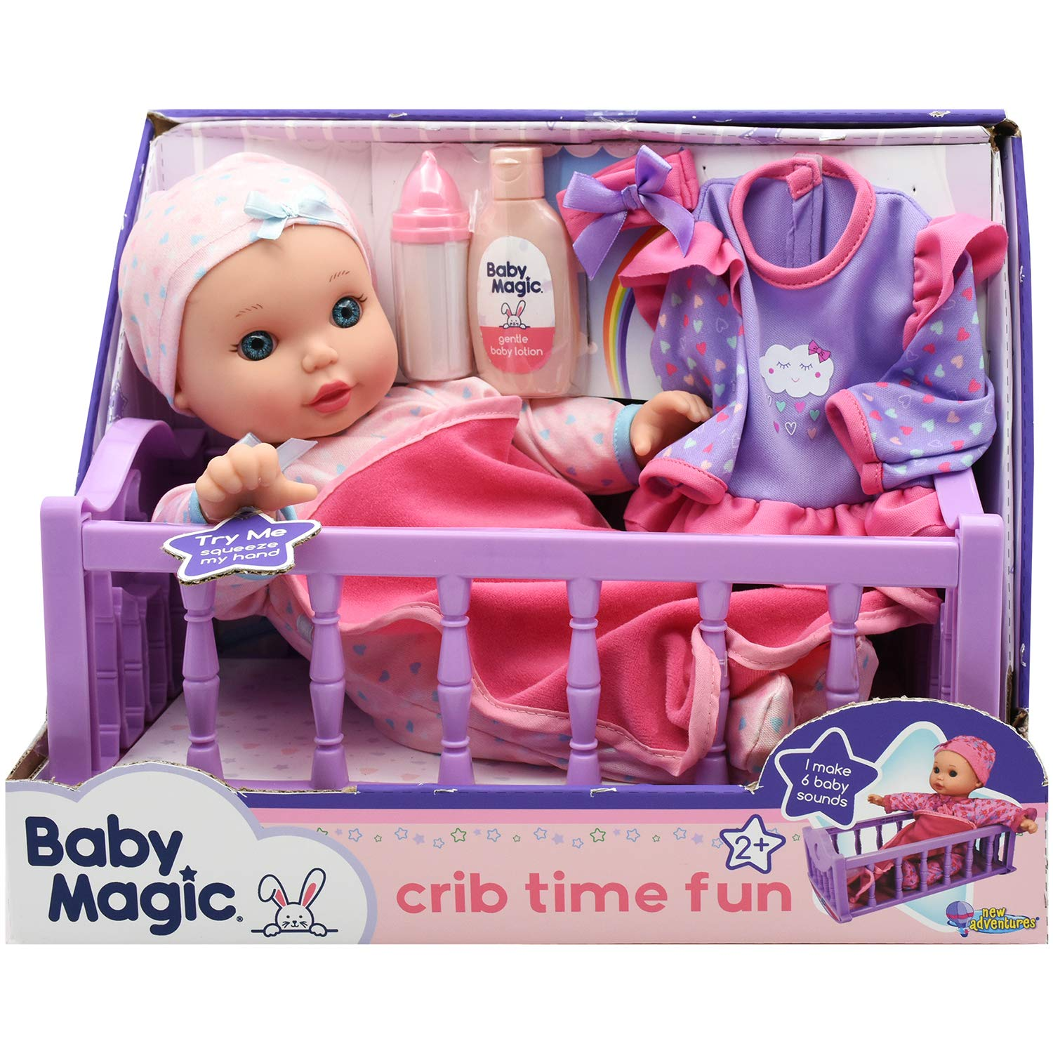 "Baby Magic Crib Time Fun (6556), 12"" Soft body baby doll, 6 different baby sounds, molded crib, accessories and bonus outfit. Age 2+, Caucasian [Amazon Exclusive]"