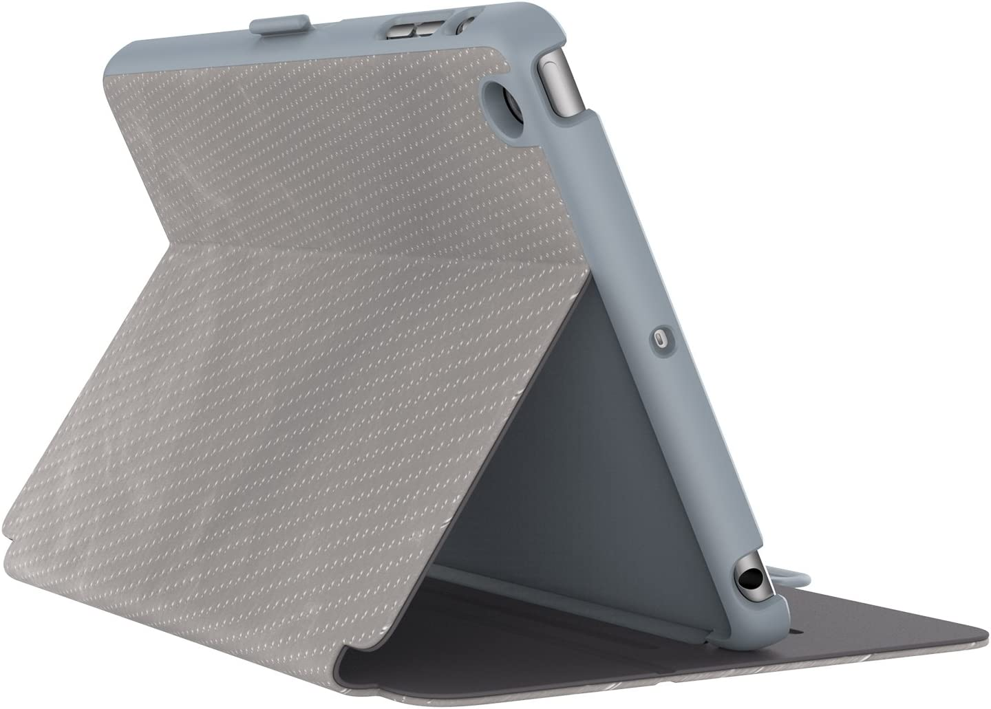 Speck Products StyleFolio Luxe Case and Stand for iPad Mini 4, Textured Metallic Perf Titanium/Nickel/Soot Grey (73958-C241)
