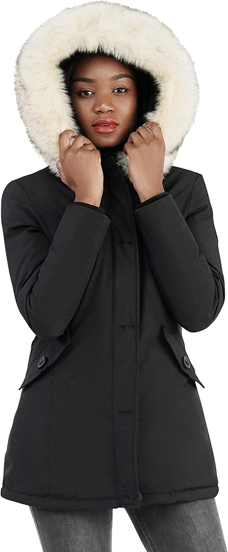 Molemsx Women's Padded Long Fur Hooded Thickened Jacket Winter Warm Puffer Coat Parka XS-XXL
